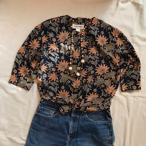 Vintage Button Down Blouse Floral Navy Blue Tan